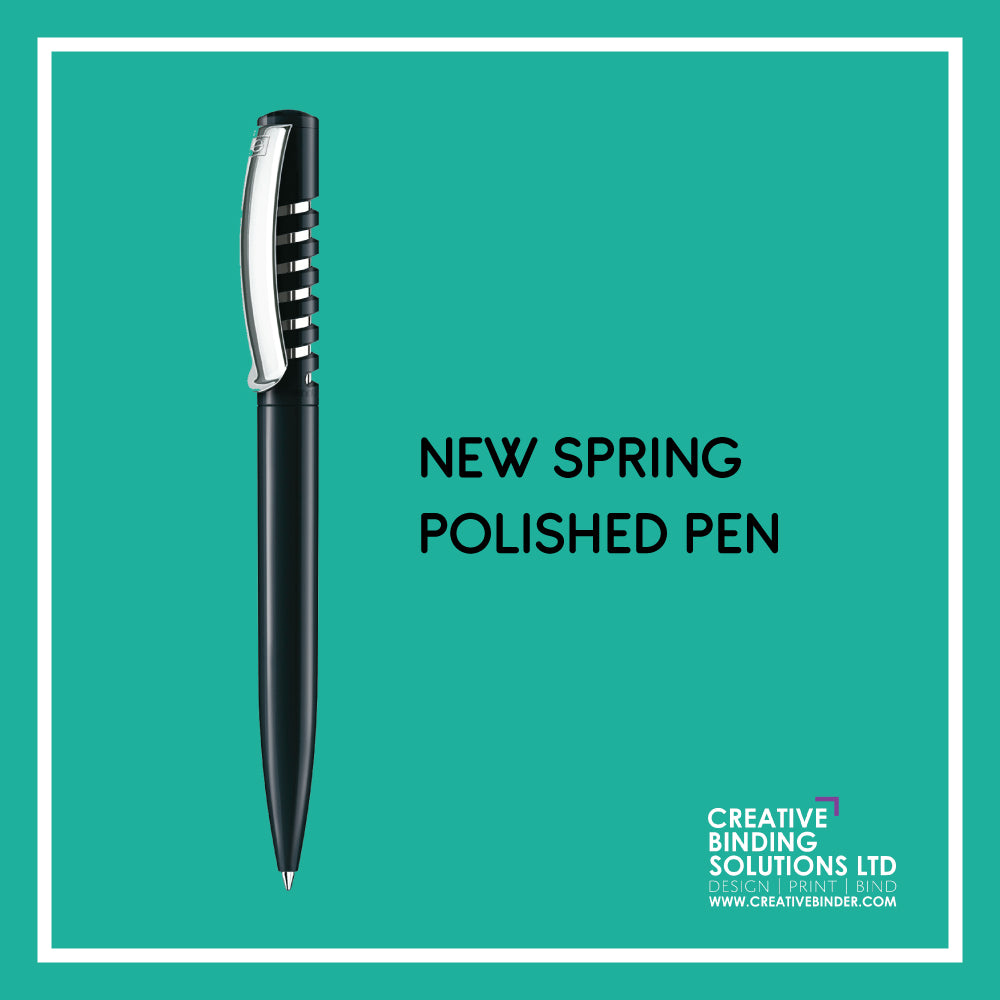 NEW SPRING POLISHED PEN WITH SILVER CLIP - SCREEN PRINTED