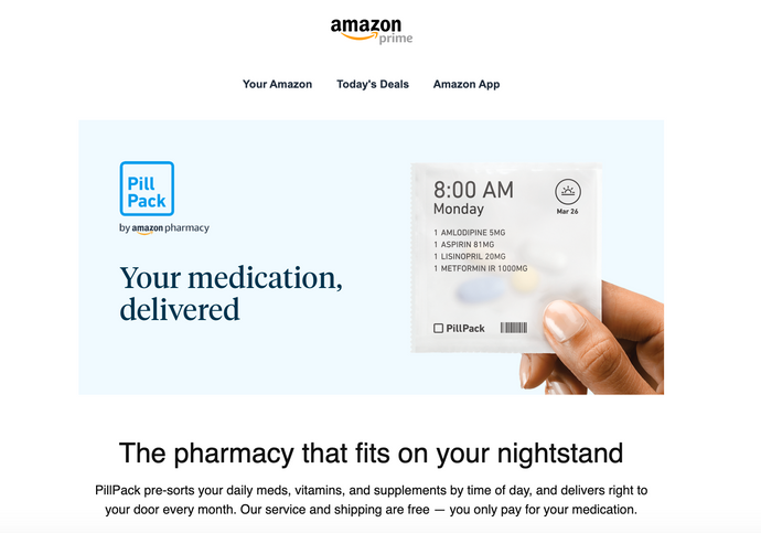 EVEN AMAZON IS GETTING IN ON THE PHARMACEUTICAL GAME...