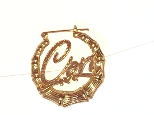 """Cherub"" Personalized Bamboo Earrings"