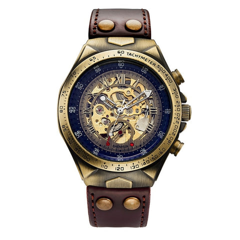SHENHUA Skeleton Automatic Mechanical men watch