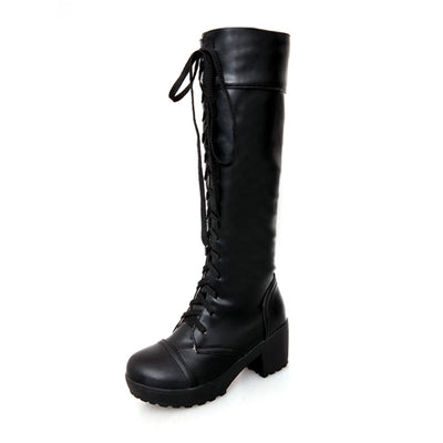 Large Size 43 Lace Up Knee High Boots Women
