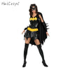 Batman Costume Adult Women Satin Dress with Cloak Mask for Scary Party Female Suit