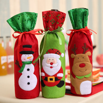 Christmas Decorations Santa Claus Wine Bottle Bags