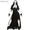 Nun Cosplay Costume Women Black Vampire Fantasy Dress