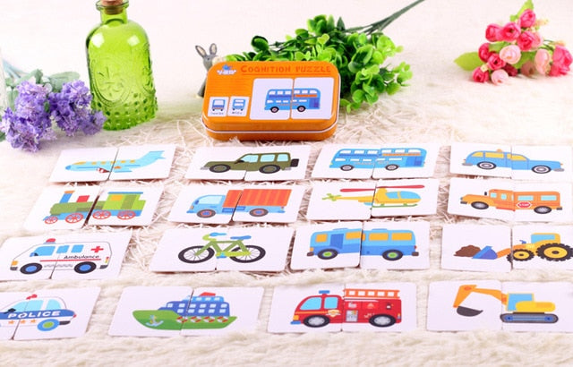 Baby Toys Infant Early Head Start Training Puzzle Cognitive Card Vehicl/Fruit/Animal/Life Set Pair Puzzle Baby Gift