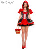Little Red Riding Hood Costume Halloween Dress Adult Women Festival Party Fancy Suit Fairy Tale Cosplay Fantasia With Hat