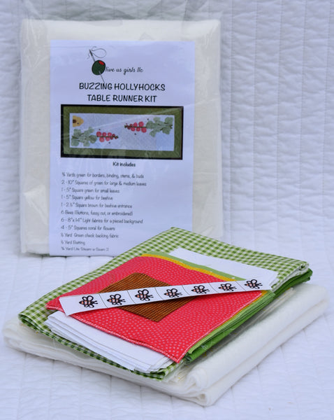 Buzzing Hollyhocks Table Runner Kit