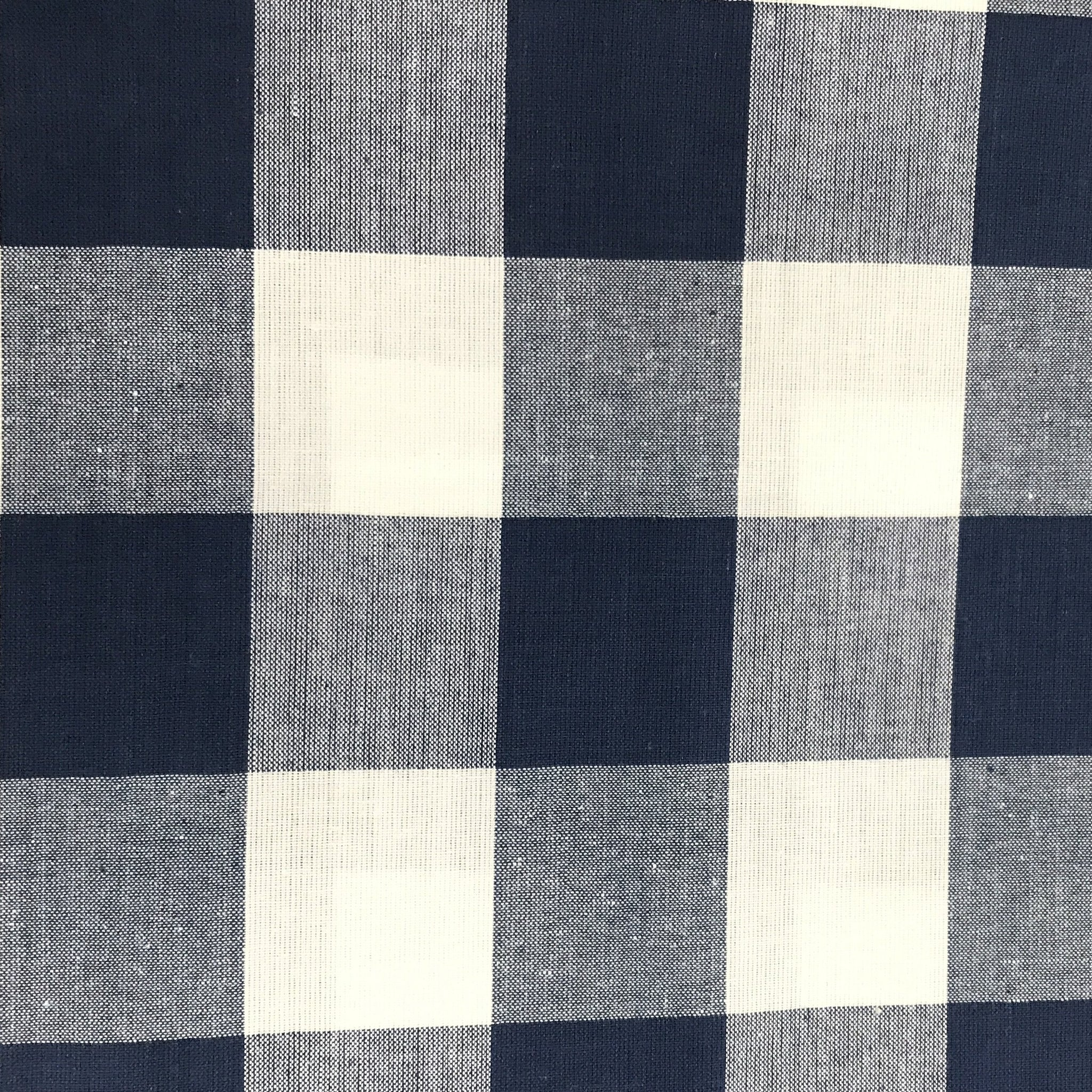 Navy & White Check Fabric