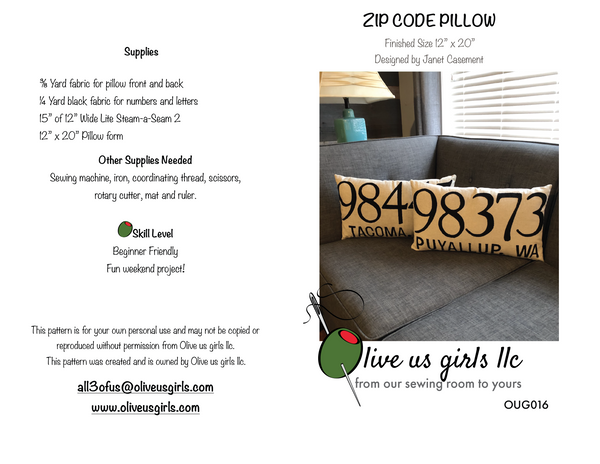 Zip Code Pillow Pattern