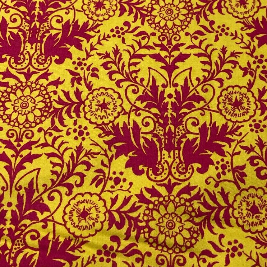 Lyla Damask Yellow & Fuchsia Fabric