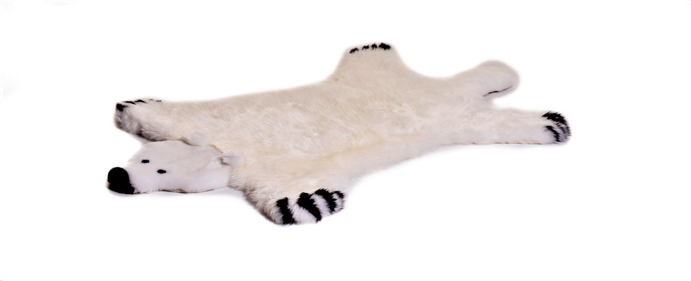 Childs room polar bear sheepskin rug