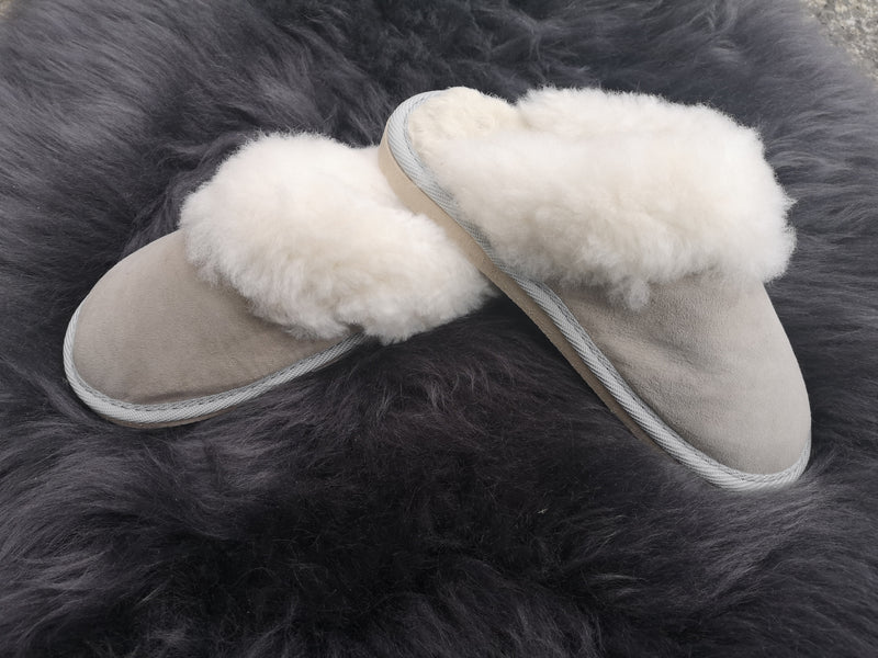 Ladies Open Sheepskin Slippers with Fur Trim and Rubber Sole