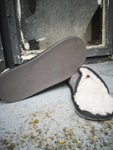 Grey Irish Sheepskin Loafer Slippers with rubber sole