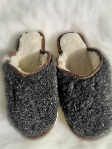 Grey Wool open backed slipper