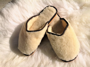 Natural White Wool open backed slipper