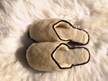 Load image into Gallery viewer, Natural White Wool open backed slipper