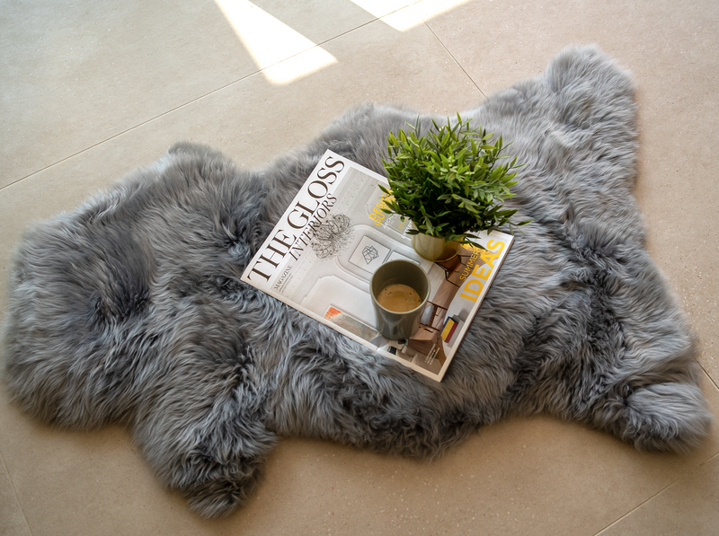 Irish Sheepskin Rug/Throw - Silver Grey