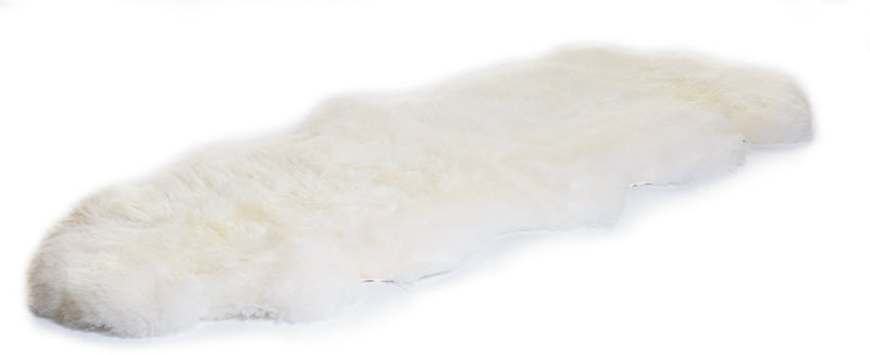 Natural White Irish Sheepskin Rug Double - end to end