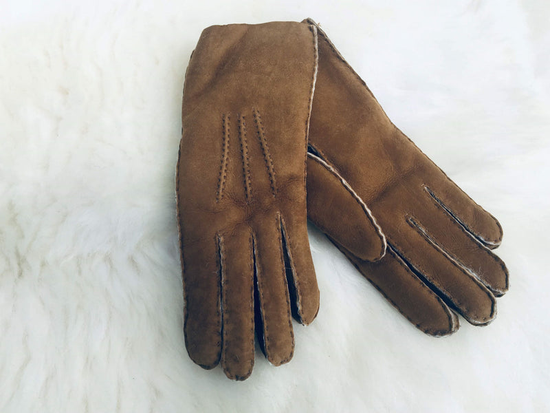 Mans Sheepskin Gloves tan