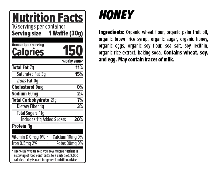 Honey Stinger Waffles Box of 16 - Honey
