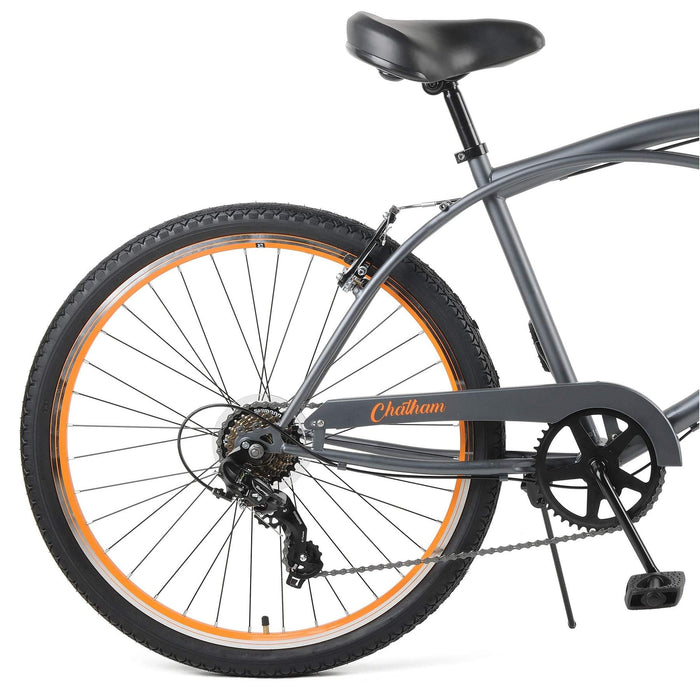"Retrospec Chatham Beach Cruiser 7-Speed 26"" - Matte Graphite/Orange 2021"