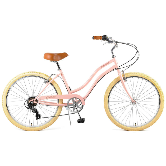 "Retrospec Chatham Beach Cruiser Step-Thru 7-Speed 26"" - Blush Pink 2021"