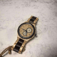BEWELL - Vahtrapuu & Must Sandlipuu / 45mm / Seiko VD73A - 75-100, bewell, brand_bewell,