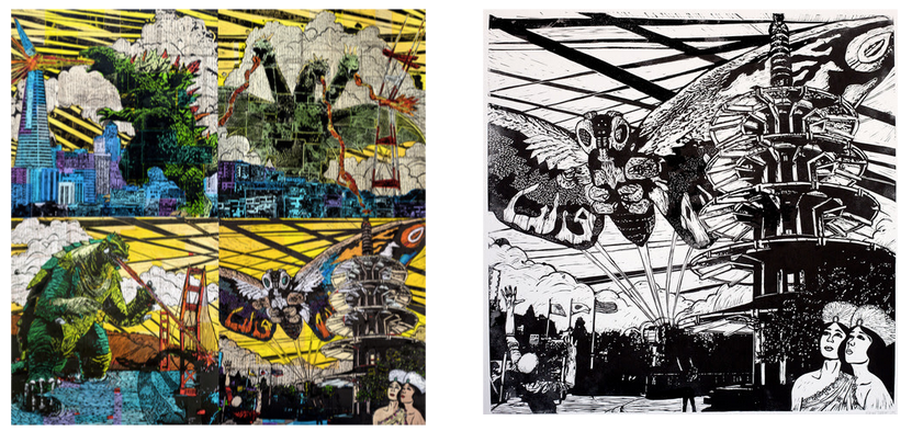 creature-feature-godzilla-gamera-mothra-king-ghidorah-affordable-original-art-local-artists-made-in-san-francisco