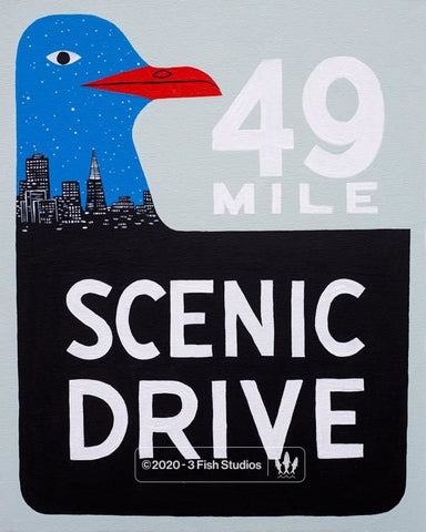 49 Mile Scenic Drive City Skyline by Annie Galvin from 3 Fish Studios