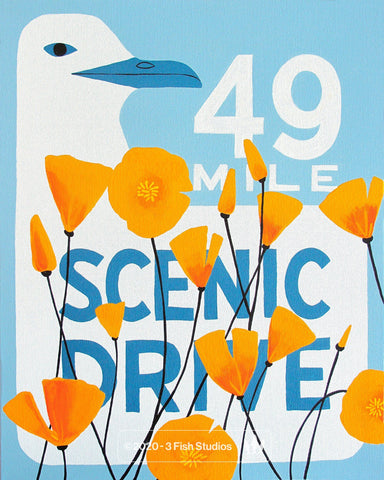 49 Mile Drive Poppy Print by Annie Galvin from 3 Fish Studios