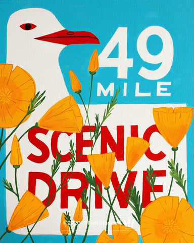 49 Mile Scenic Drive Poppy Print Red Beak