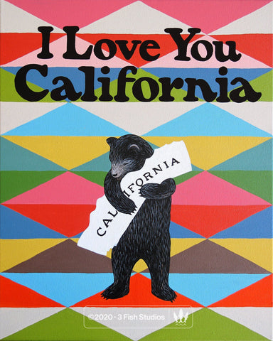 """I Love You California"" Blanket Print by Annie Galvin 3 Fish Studios"