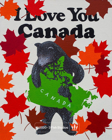 """I Love You Canada"" Print by Annie Galvin from 3 Fish Studios"