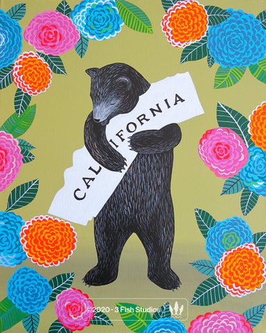 """I Love You California"" Dahlia Print by Annie Galvin 3 Fish Studios"