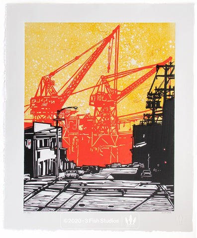 Dogpatch Linocut Print by Eric Rewitzer 3 Fish Studios