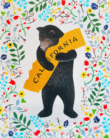 """I Love You California"" Floral Print by Annie Galvin 3 Fish Studios"