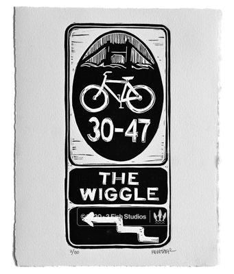 The Wiggle Linocut Print by Eric Rewitzer 3 Fish Studios