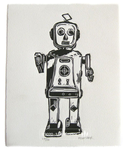 Robot Mike Linocut Print by Eric Rewitzer 3 Fish Studios