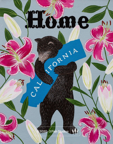 """I Love You California"" Lily Print by Annie Galvin 3 Fish Studios"