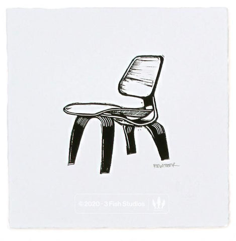 Eames Molded Plywood Chair Linocut Print by Eric Rewitzer 3 Fish Studios