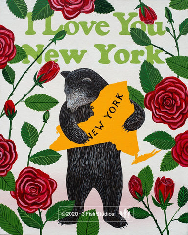 """I Love You New York"" Print by Annie Galvin from 3 Fish Studios"