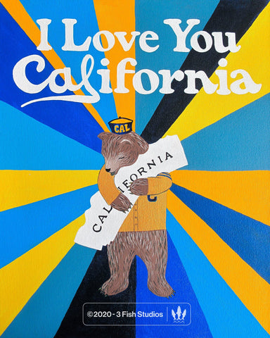 """I Love You California"" Oski Print by Annie Galvin from 3 Fish Studios"
