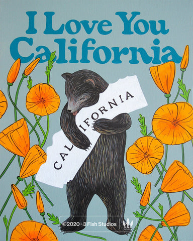 """I Love You California"" Poppy Print by Annie Galvin 3 Fish Studios"