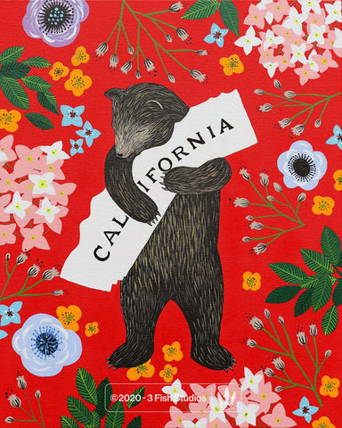 """I Love You California"" Red Print by Annie Galvin 3 Fish Studios"
