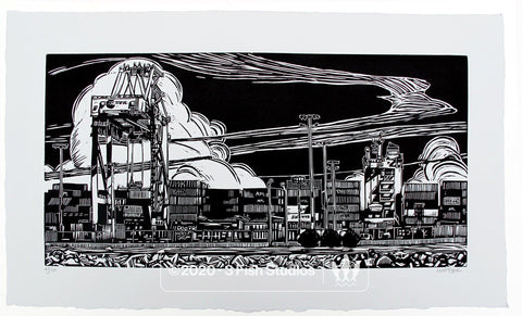 Port Authority Linocut Print by Eric Rewitzer 3 Fish Studios