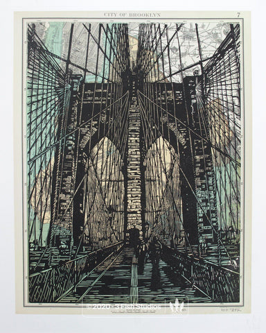 Brooklyn Bridge Linocut Print by Eric Rewitzer 3 Fish Studios
