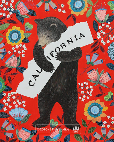 """I Love You California"" Scarlet Print"