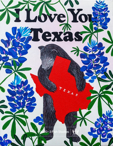 I Love You Texas Print by Annie Galvin 3 Fish Studios