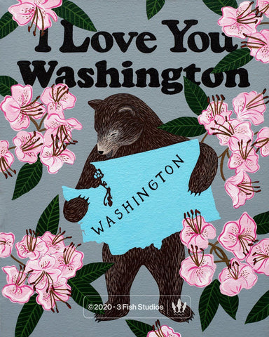 """I Love You Washington"" Print by Annie Galvin from 3 Fish Studios"