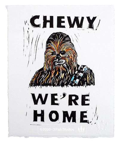 Chewy We're Home Linocut Print by Eric Rewitzer 3 Fish Studios